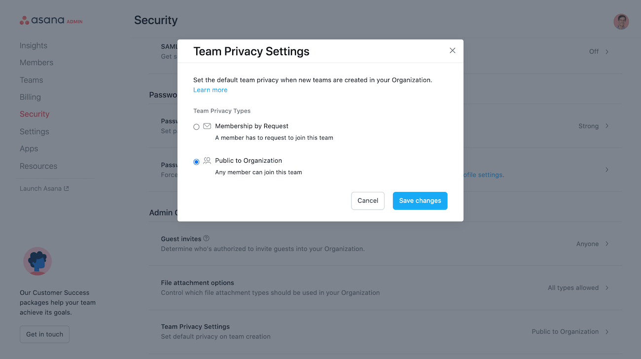 team privacy settings 2