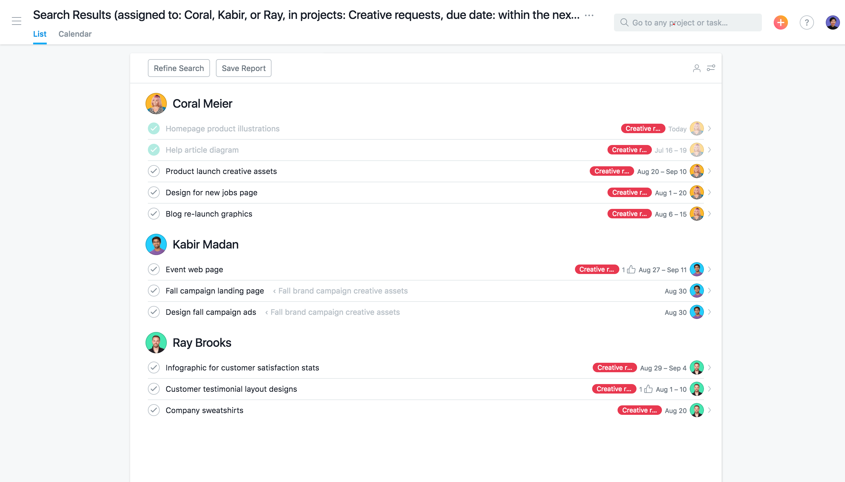 Advanced search in Asana