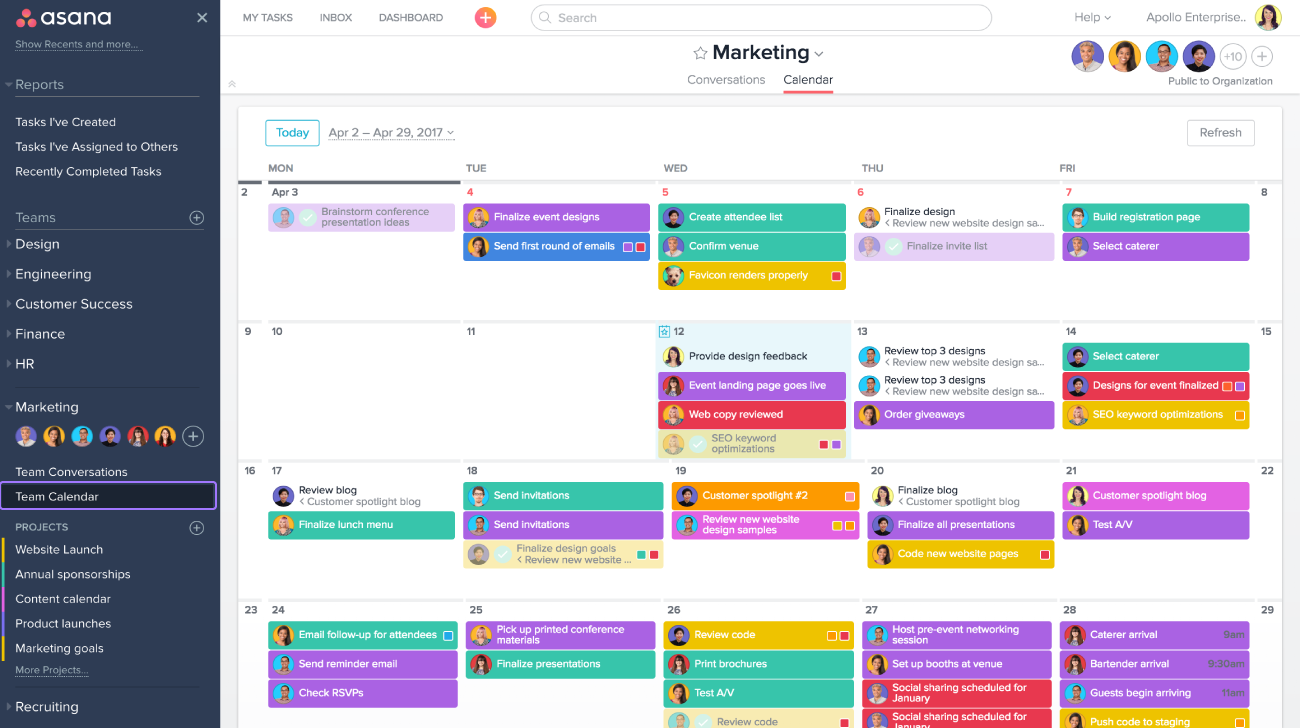 See your entire team's calendar by clicking Team Calendar in the sidebar of Asana