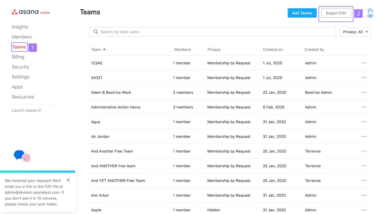 export au format CSV